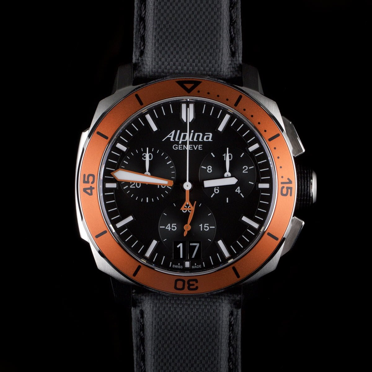 Photo of Alpina Seastrong Diver 300 Chronograph with orange bezel