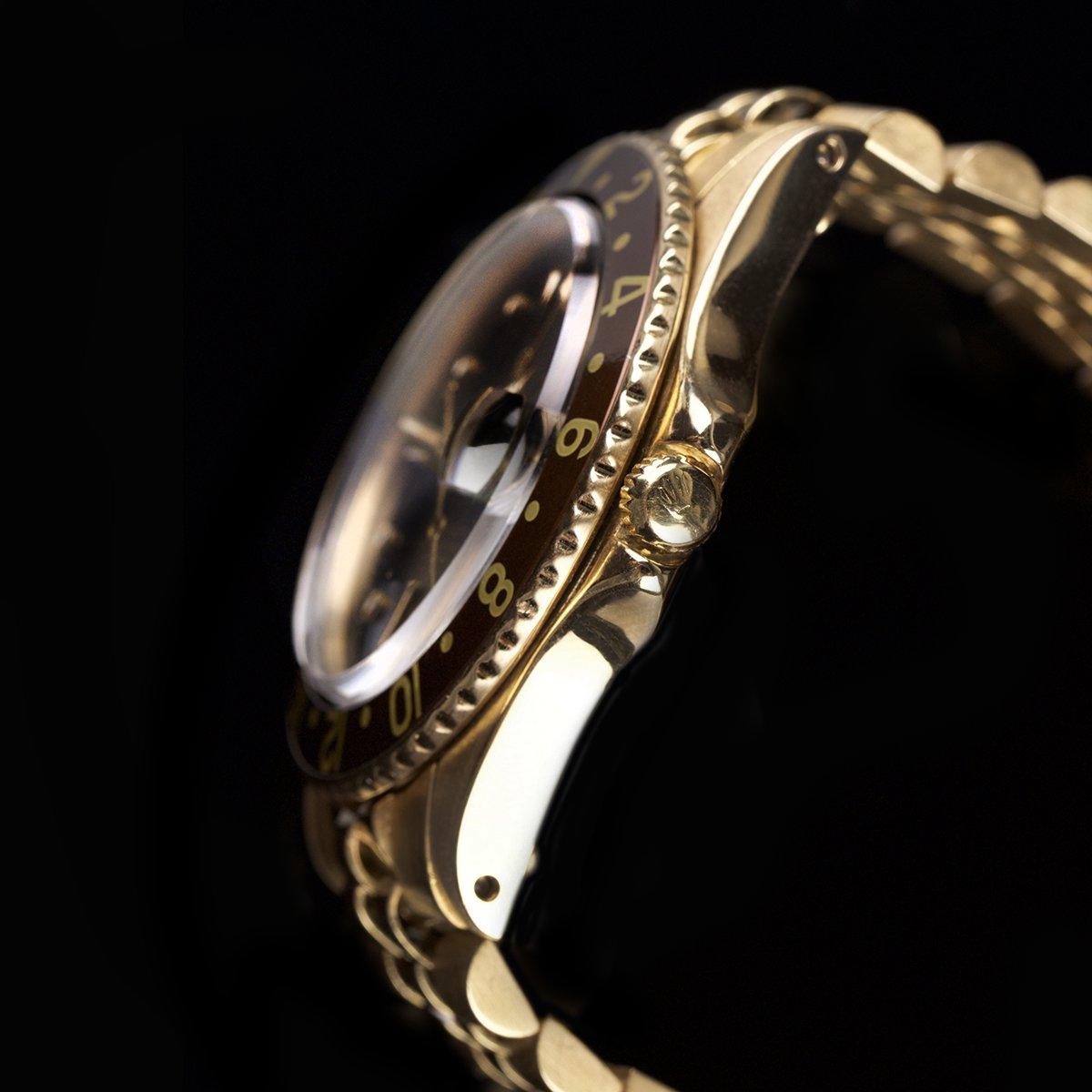Stunning Rolex GMT 1675 18k Gold Nipple Dial Tobacco Bezel