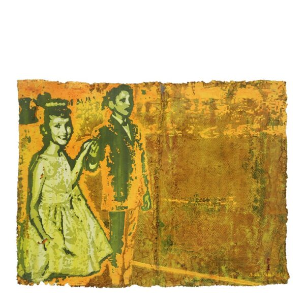 Photo of Anne Vilsbøll silkscreen on canvas sack - dance yellow