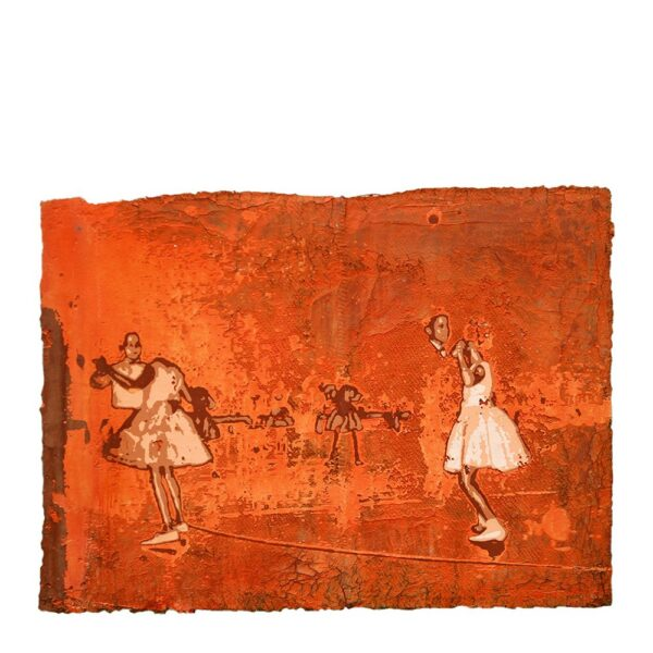 Photo of Anne Vilsbøll silkscreen on canvas sack - dance orange