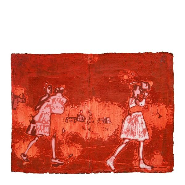 Photo of Anne Vilsbøll silkscreen on canvas sack - dance red