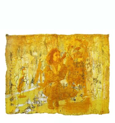 Photo of Anne Vilsbøll silkscreen on canvas sack - lion yellow