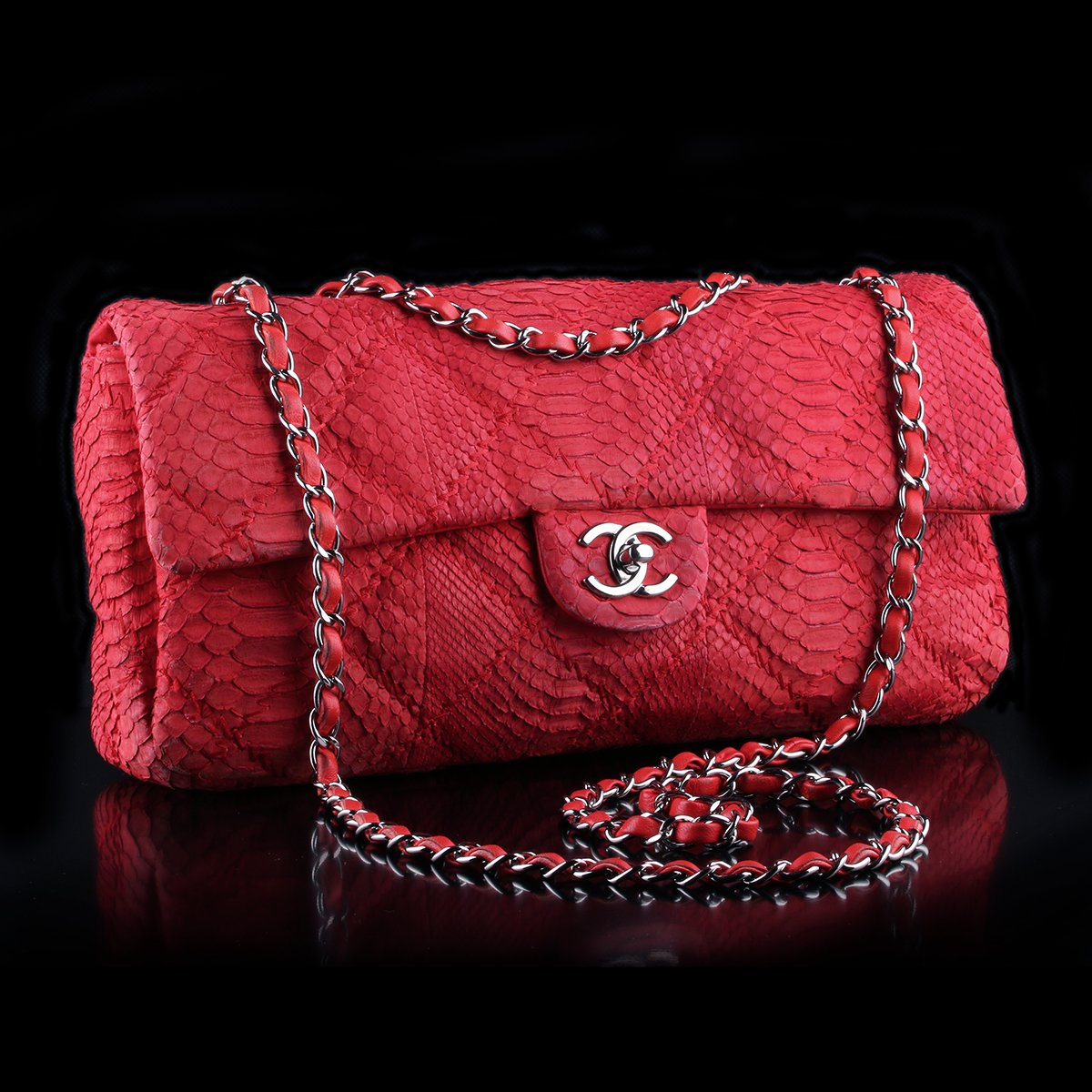 013e28f6547f Chanel Red Python East West Flap Bag - Classic390