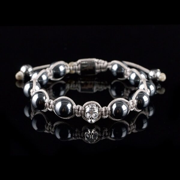 Photo of hematite beads and skull diamond bracelet