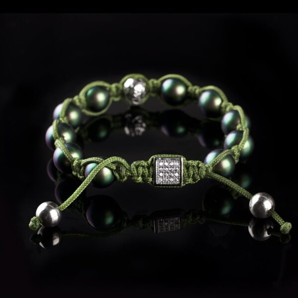 Photo of mother of pearl beads and skull bracelet