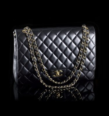 15373451e633 Chanel Maxi Double Flap Black Lambskin Golden Hardware