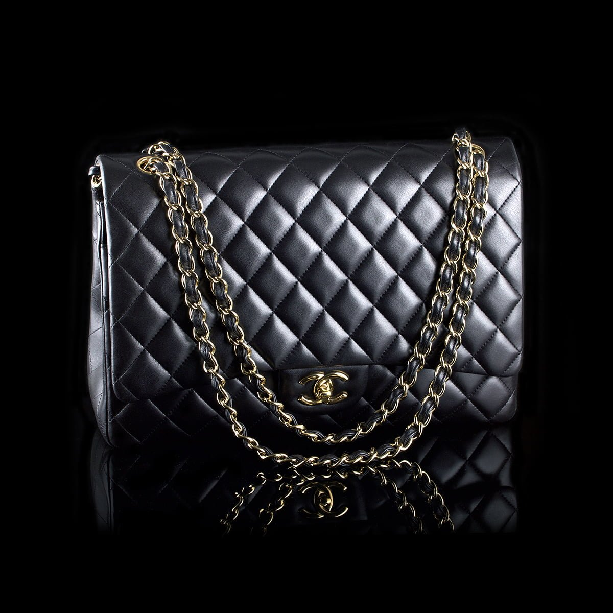 47e996305447 Chanel Maxi Double Flap Black Lambskin Golden Hardware - Classic390