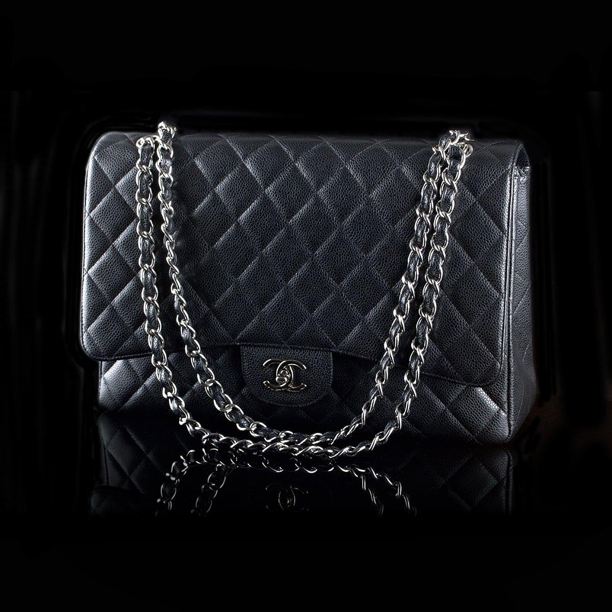 d49e9764 SOLD! Chanel Maxi Black Caviar Skin Palladium Hardware - Classic390