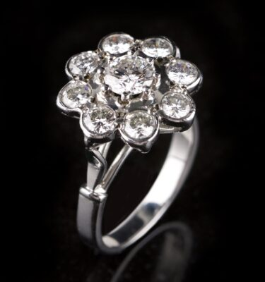 Photo of rosette ring with diamonds