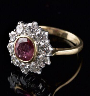 Foto af rosetring 1 pink safir 10 diamanter
