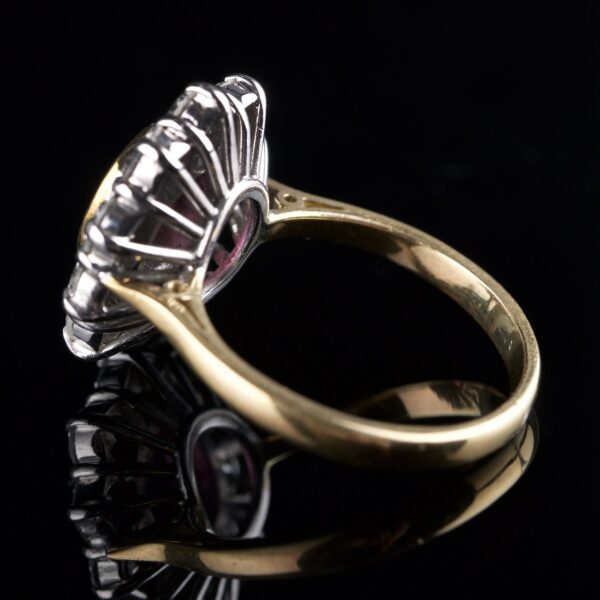 Photo of rosette ring 1 pink sapphire 10 diamonds