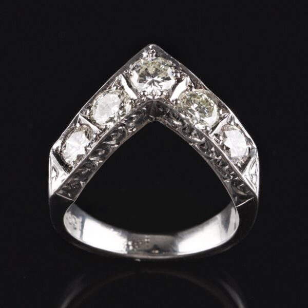 Photo of white gold ring with 5 diamonds