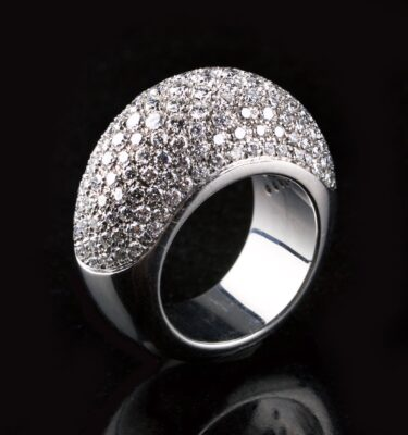 Photo of pavé diamond ring.