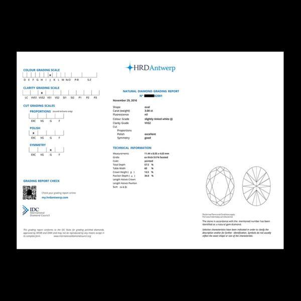 Photo of oval diamond certificate