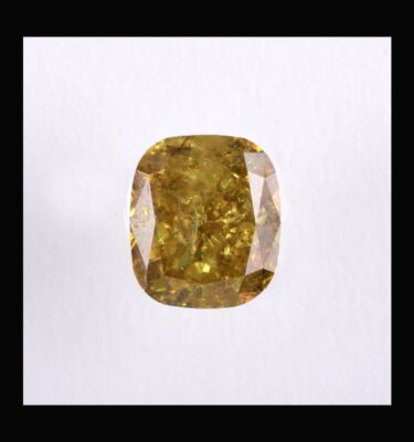 Photo of diamond cushion fancy deep yellow