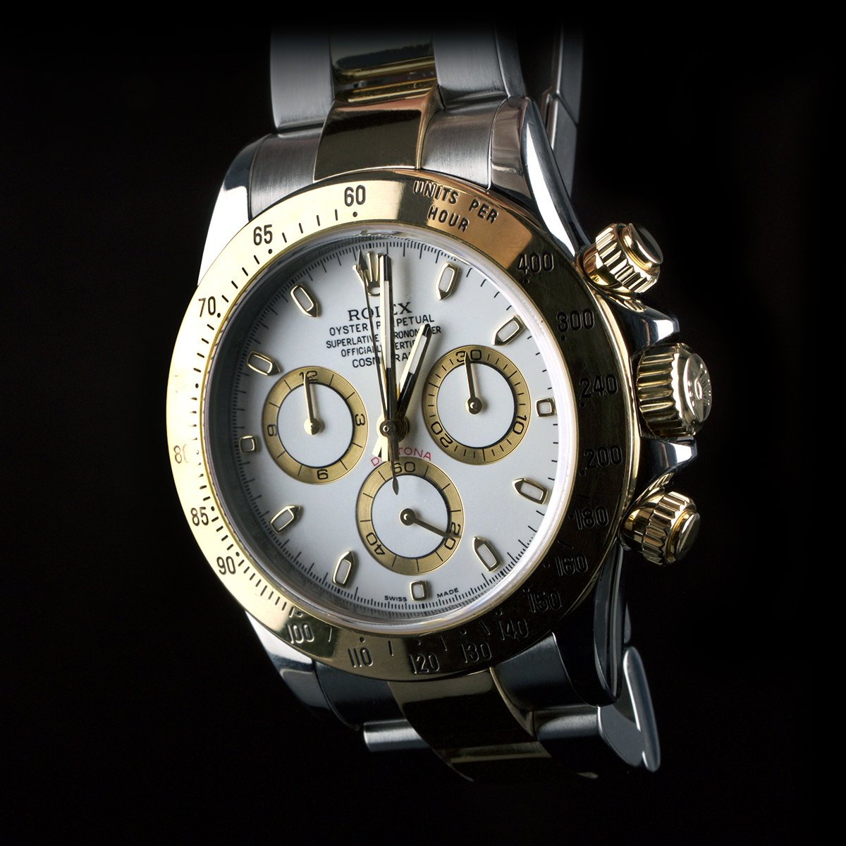 Photo of watch Rolex Daytona ref 116523 gold steel white dial