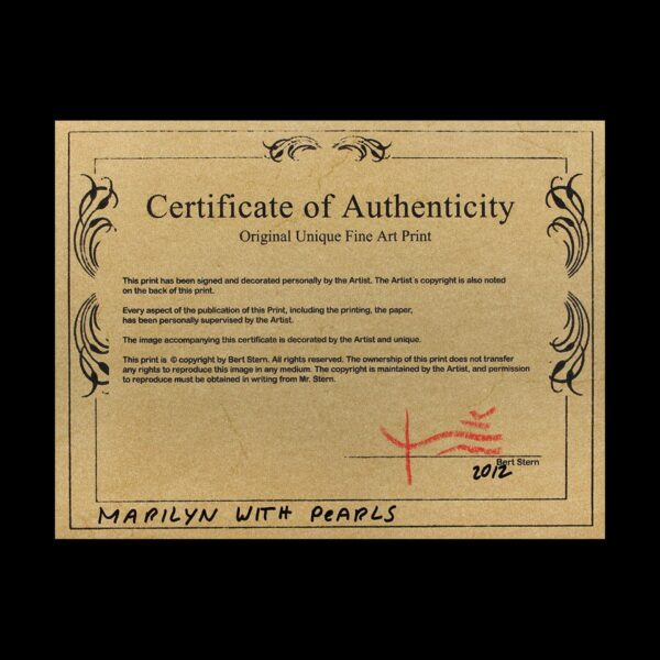 Photo of Certificate of Authenticity