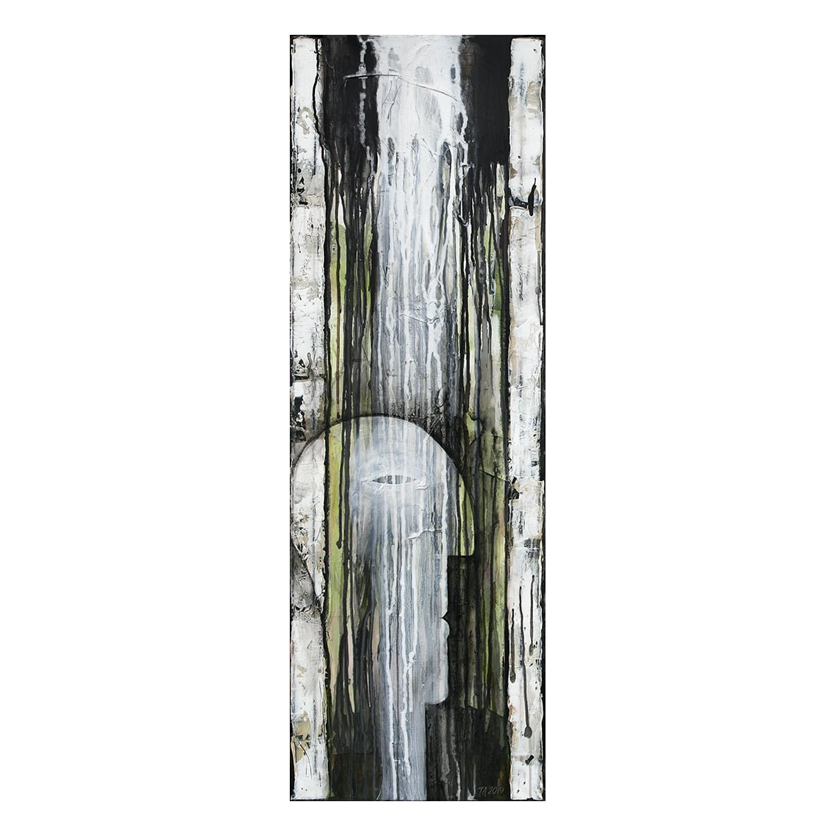 Photo of painting by Terese Andersen, 120x40, title; Bright Mind