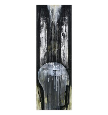 Photo of painting by Terese Andersen, 120x40, title; Full Moon