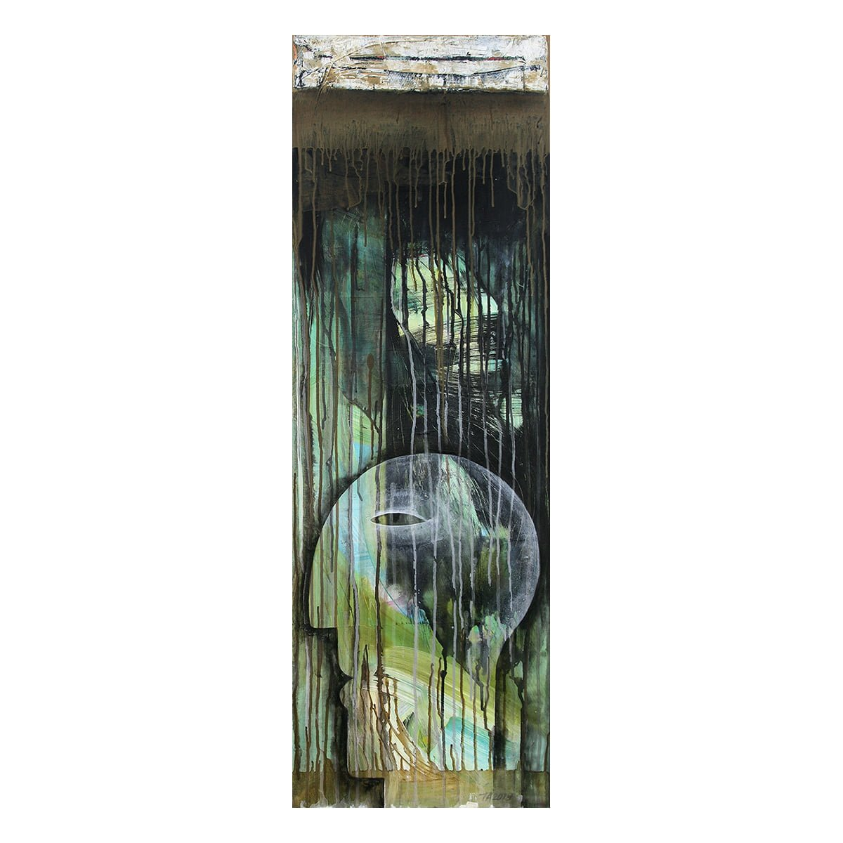 Photo of painting by Terese Andersen, 120x40, title; Skyfall