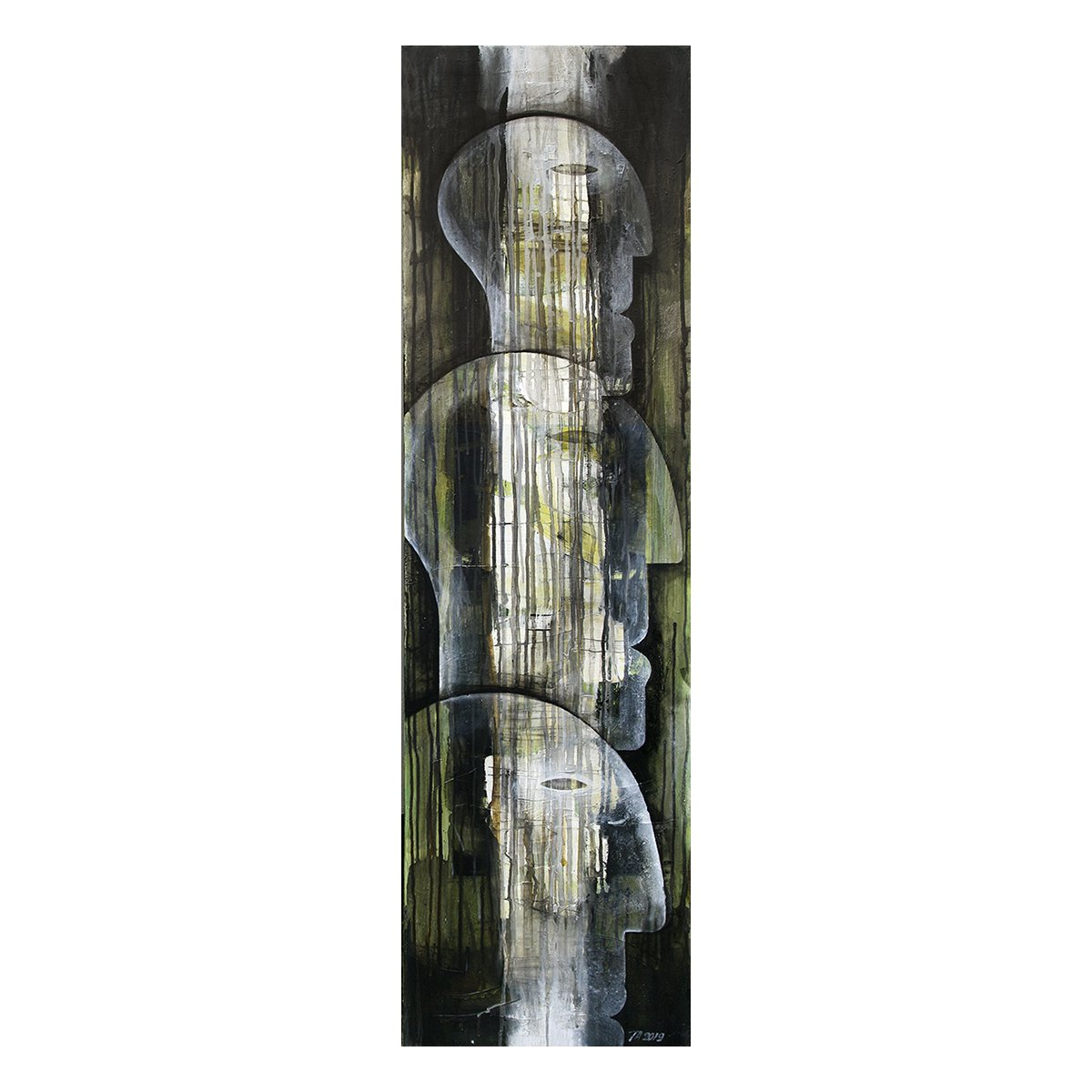 Photo of painting by Terese Andersen, 140x40, title; Tall