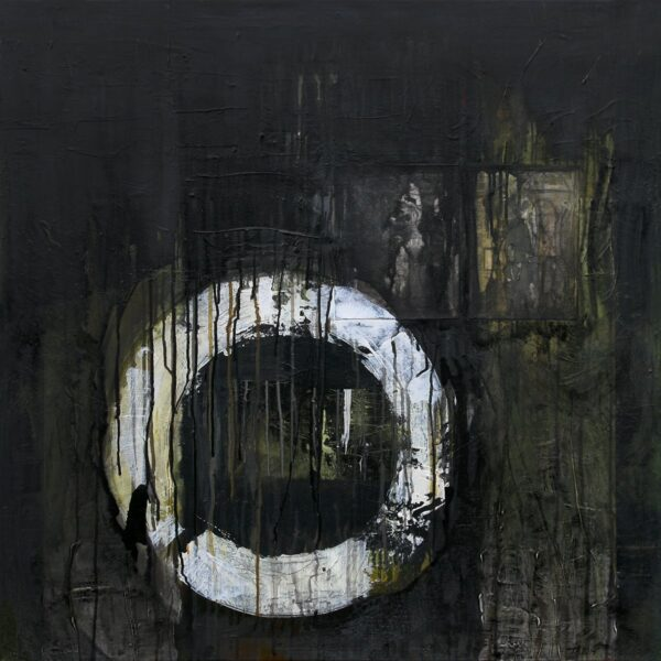Photo of painting by Terese Andersen, 90x90, title; Continue